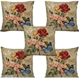 HSR Collection 3D Digital Jute Flower Pattern Cushion Cover (Skin, 16x16 inches) - Set of 5