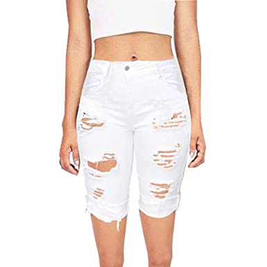 82761ccfd10 SKYLINEWEARS Womens Distressed Bermuda Casual Fashion Denim Stretchy Mid  Rise Jeans Shorts White Small