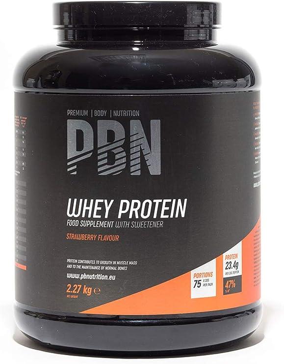 PBN - Proteína de suero de leche en polvo, 2.27 kg (sabor fresa ...
