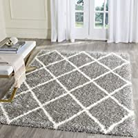 Safavieh Montreal Shag Collection SGM831D Grey and Ivory Area Rug (53 x 76)