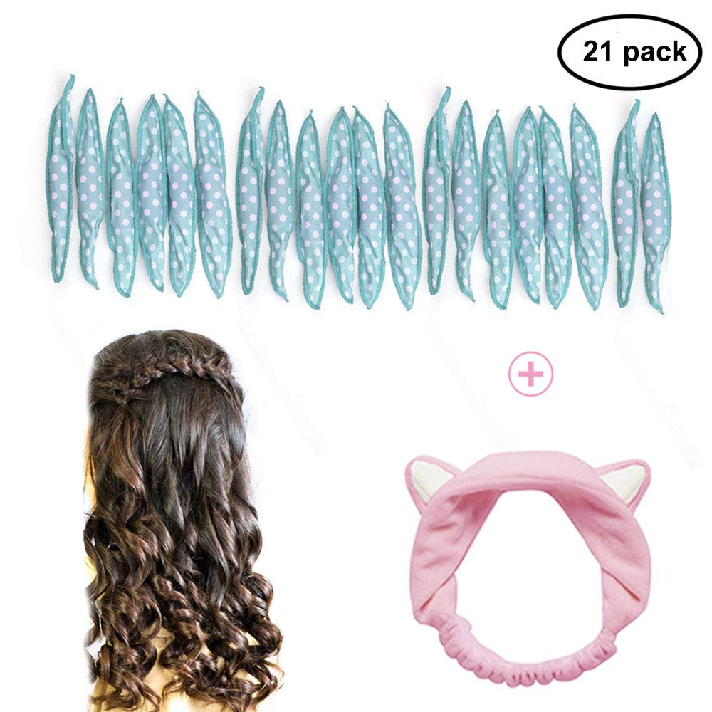 GIANCOMICS 21pcs Soft Hair Rollers Flexible Night Sleep Foam Hair Curlers for Long, Short, Straight, Curly Hairs DIY Sponge Hair Styling Rollers + Cat Ears Headhand for Women Girl (Blue)