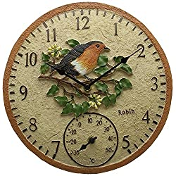 Smart Garden Robin Bird Wall Clock & Thermometer Outdoor Garden Clock 12 Weatherproof