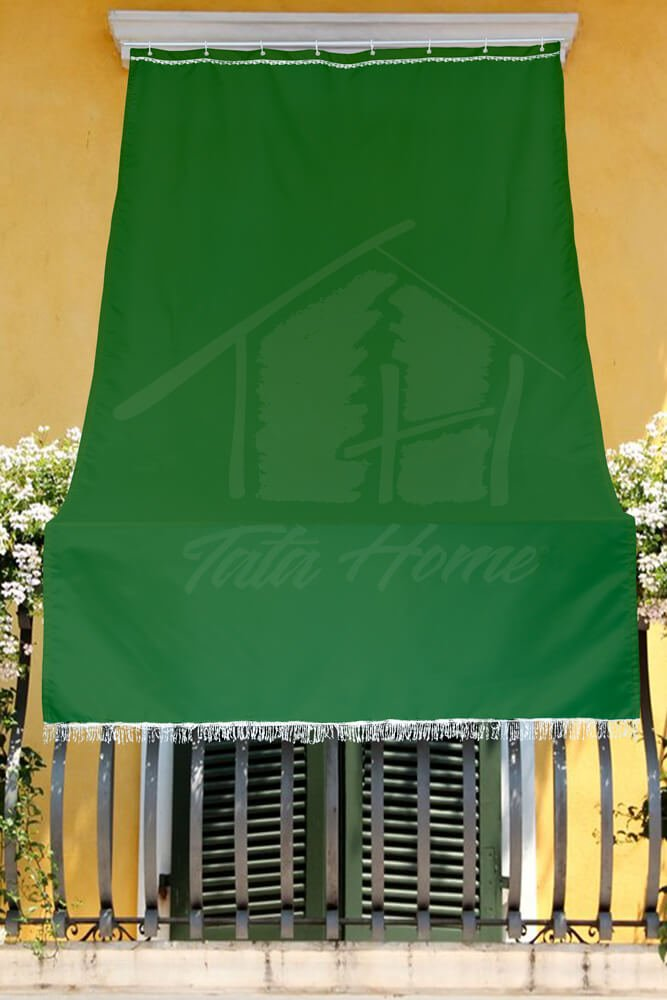 Tenda da Sole con Kit Ganci e Anelli in Tessuto Resistente da Esterno o Balcone Misura cm 140x350 Dis.5bis Tinta Unita Colore Verde Tata Home