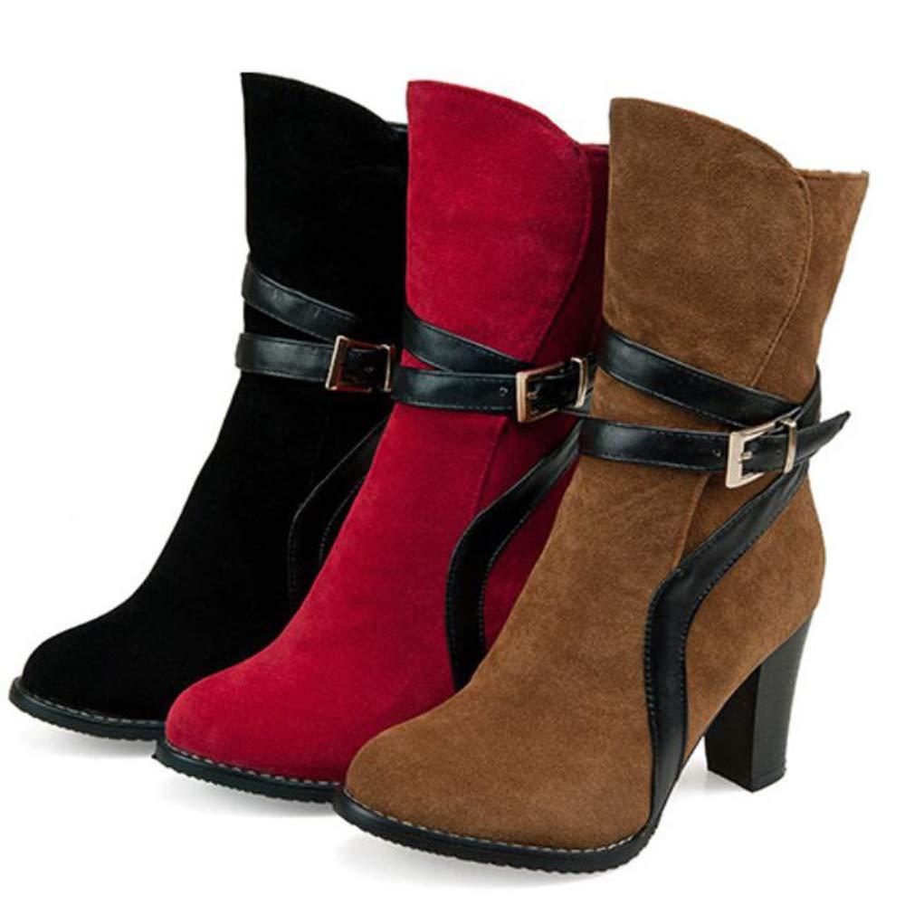 CITW Herbst-Frauen-Stiefel Retro Kurze Roman Tube Martin Stiefel Gürtelschnalle Roman Kurze Stiefel Thick High Heel Damen Stiefel,schwarz,UK1 EUR35 2d298e