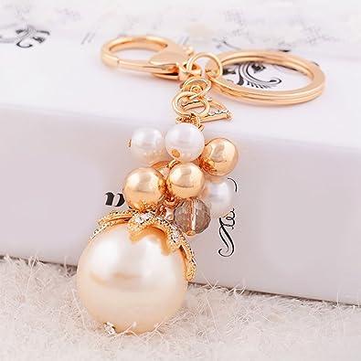Amazon.com: Powerfulline Llavero de moda con perlas de ...