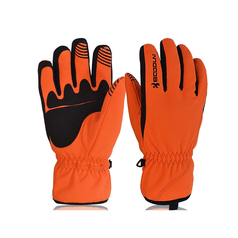 AmDxD Herren Winter Skihandschuhe Fahrradhandschuhe mit Touchscreen Funktion Orange Handschuhe Größe Groß
