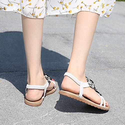 Flower T Gladiator Meeshine Shoes Flat White Beaded Dress Strap 05 Women Beach Sandals 5qIXrwxXT