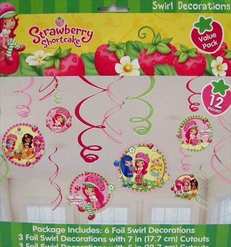 amscan Delightful Strawberry Shortcake Swirl Value Pack Birthday Party Decorations (12 Pack), 24