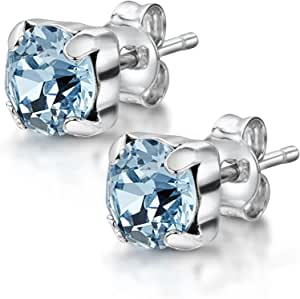 Amberta Women's 925 Sterling Silver Lumini Crystal Square Stud Earrings