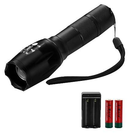 E More Portable 2000lm Cree Xml T6 Led Flashlight 2 Pcs 18650