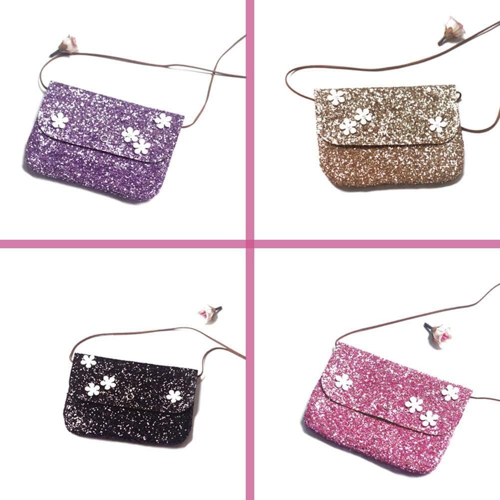 adminitto88/el bolso de hombro de los ni/ña mignonnes de brillante purpurina con Mini/ /Bolso bandolera ni/ños Messenger Bag de flor para beb/és ni/ñas negro Negro