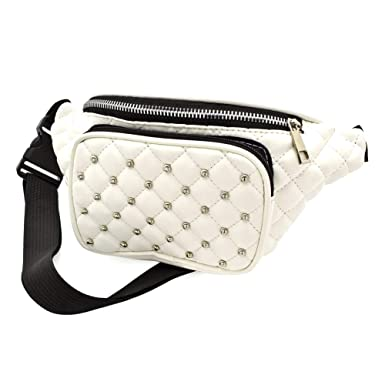 6379317cc3 White Faux Leather Padded Studded Bum Bag / Fanny Pack - Festivals /Club  Wear/