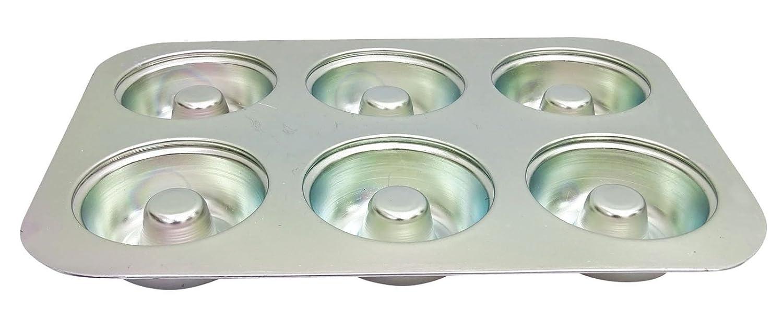 6 Cavaity buñuelo de jalea de aluminio Pan de molde para hornear la torta del horno bandeja de moldes: Amazon.es: Hogar