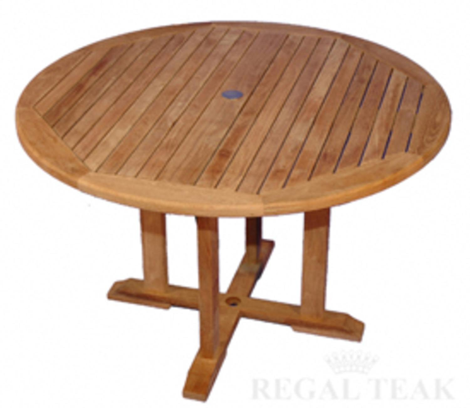 "Amazon 48"" Natural Teak Round Outdoor Patio Dining Wooden"