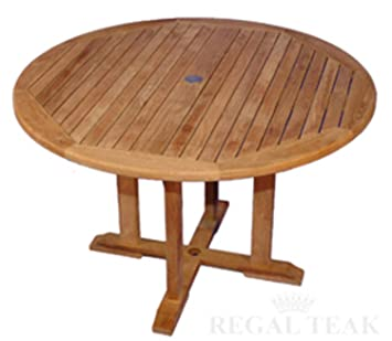 Amazing 48u0026quot; Natural Teak Round Outdoor Patio Dining Wooden Table