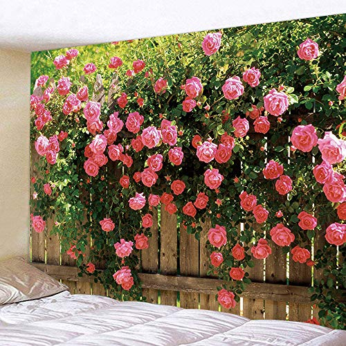 (JAWO Rose Wallpaper Tapestry Wall Hanging, Garden Flower Rose Vines on Wooden Fence Tapestry Blanket for Bedroom Living Room Dorm Wall Decor Art Tapestry 71x60 inches)