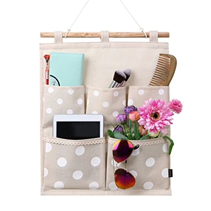 Homecube Linen Cotton Fabric Wall Door Cloth Hanging Storage Bag Case 5 Pocket Home Organizer (  sc 1 st  Amazon.com & Amazon.com: Homecube Linen Cotton Fabric Wall Door Cloth Hanging ...