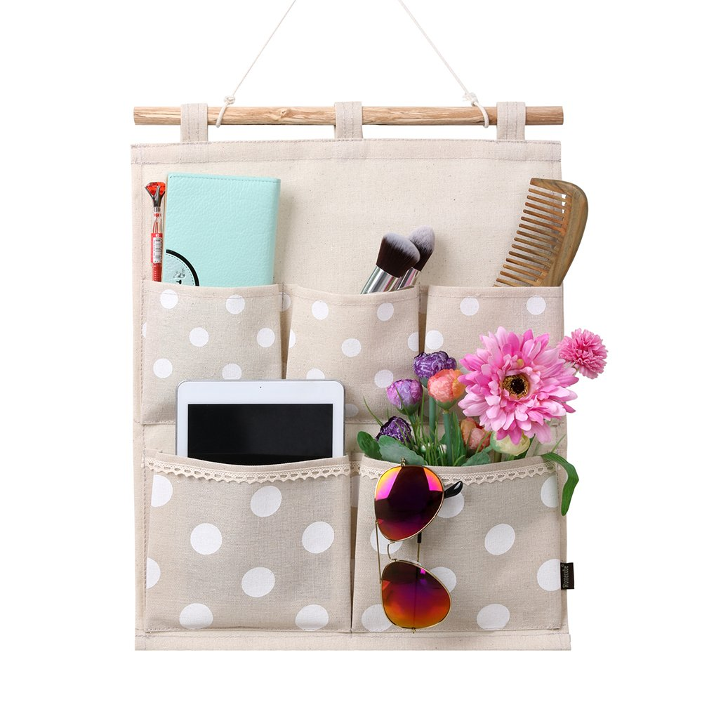 Homecube Linen Cotton Fabric Wall Door Cloth Hanging Storage Bag Case 5 Pocke.. 14