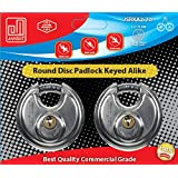 Pack of 2, JANSEL Discus Padlocks Keyed Alike 70mm Round Disc Padlock with Shielded Shackle, 2-3/4-inch, Stainless Steel Round Disc Storage Pad Locks All the same key