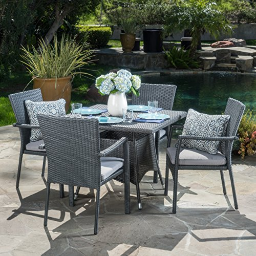 Cabela | 5 Piece Wicker Outdoor Dining Set with Cushions | Perfect For Patio | in Grey