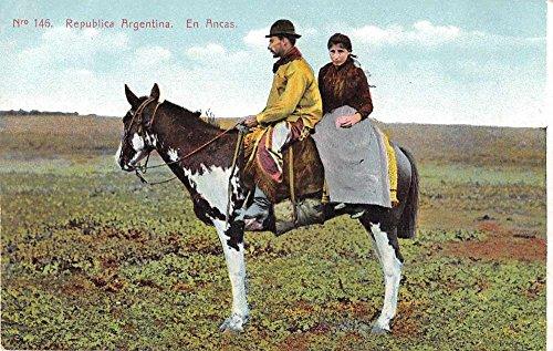 Buenos Aires Argentina People on Horseback En Ancas Antique Postcard J49120