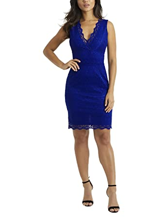 LIPSY Womens V Neck All Over Lace Bodycon Dress Blue US 6 (UK 10)