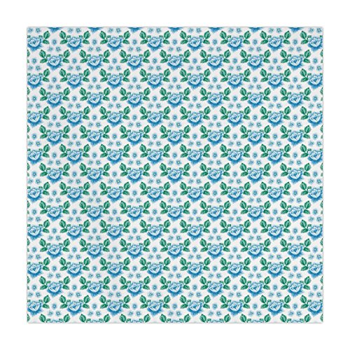 iPrint Satin Square Tablecloth,Rose,Vintage Blue Roses and Forget Me Not Flowers Botanical Hand Drawn Pattern Decorative,Sky Blue Jade Green,Dining Room Kitchen Table Cloth Cover