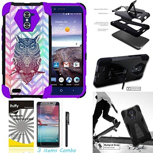 For ZTE ZMAX PRO ZTE CARRY Z981 /ITUFFY 3items: LCD Film+Stylus Pen+[Dual Layer] [Impact Resistance] [KickStand] Hybrid Armor Case Chevron Owl – Purple