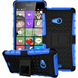 Heartly Flip Kick Stand Spider Hard Dual Rugged Armor Hybrid Bumper Back Case Cover For Microsoft Lumia 540 Dual SIM - Power Blue