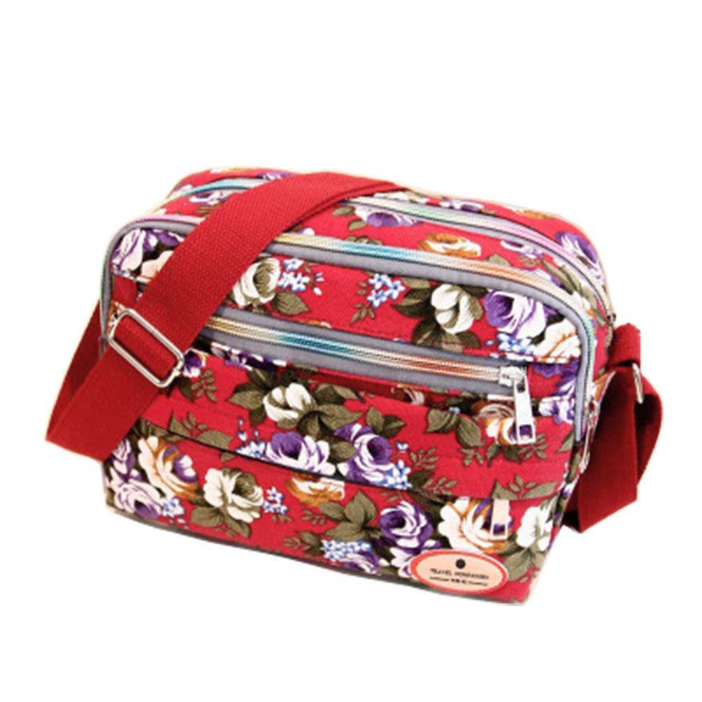 ZOONAI Women Canvas Crossbody Messenger Shoulder Sling Bag Floral Handbag Purse (Red)