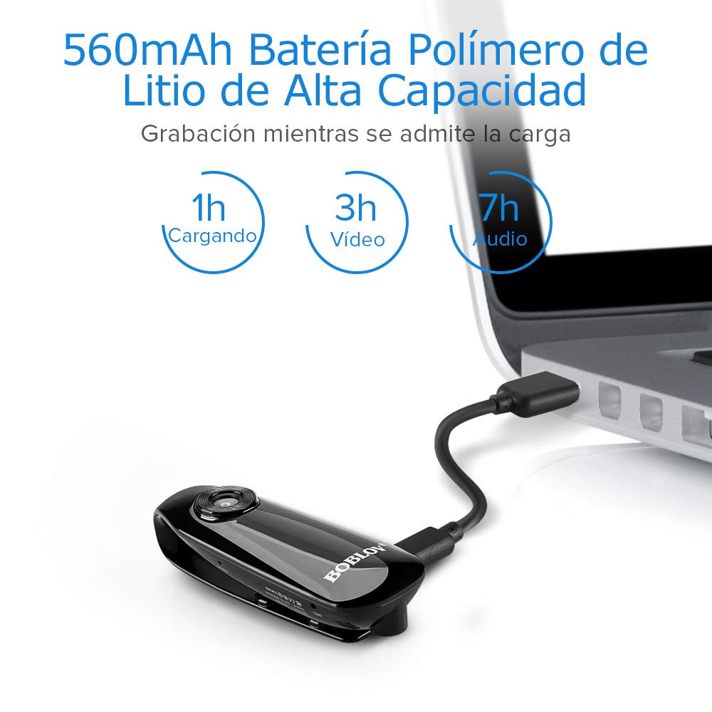 BOBLOV 1080P Full HD Mini cámara Dash CAM para Cuerpo policial Bicicleta Videocámara H.264 Gran Angular con Tarjeta de 32GB