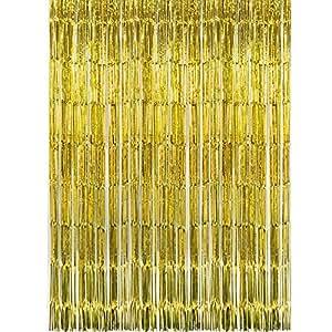 SUNBEAUTY Fotocall, Cortina Lista Franja Decoración de la Boda Fiesta Celabración Cumpleaños, 90*240 cm, Dorado