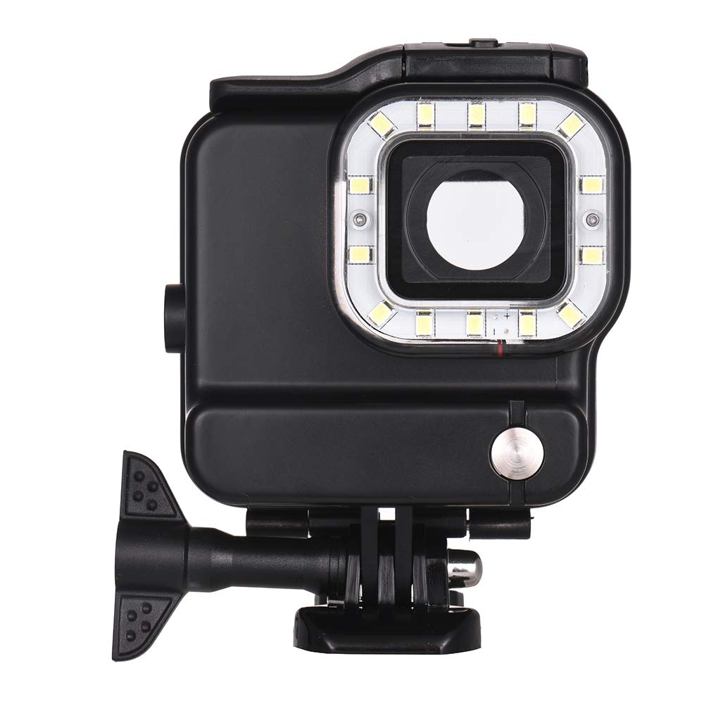 Andoer Action Camera Waterproof Housing with LED Diving Fill-in Light 14pcs LEDs 3 Lighting Modes 300LM Underwater 30m with Rechargeable Battery for GoPro Hero 6 5 Sports Cameras by Andoer-1