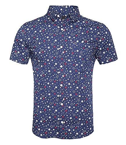 TOPORUS Men's Casual Short Sleeve Printing Pattern Button Down Shirts, B-Blue, XXL -