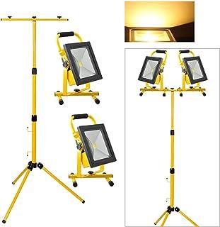 vingo® 2X Faretto LED batteria con treppiede telescopico baulicht mano lampada faro Durata 4ore arbeitssstrahler 2X 30W Warmweiß + stativ
