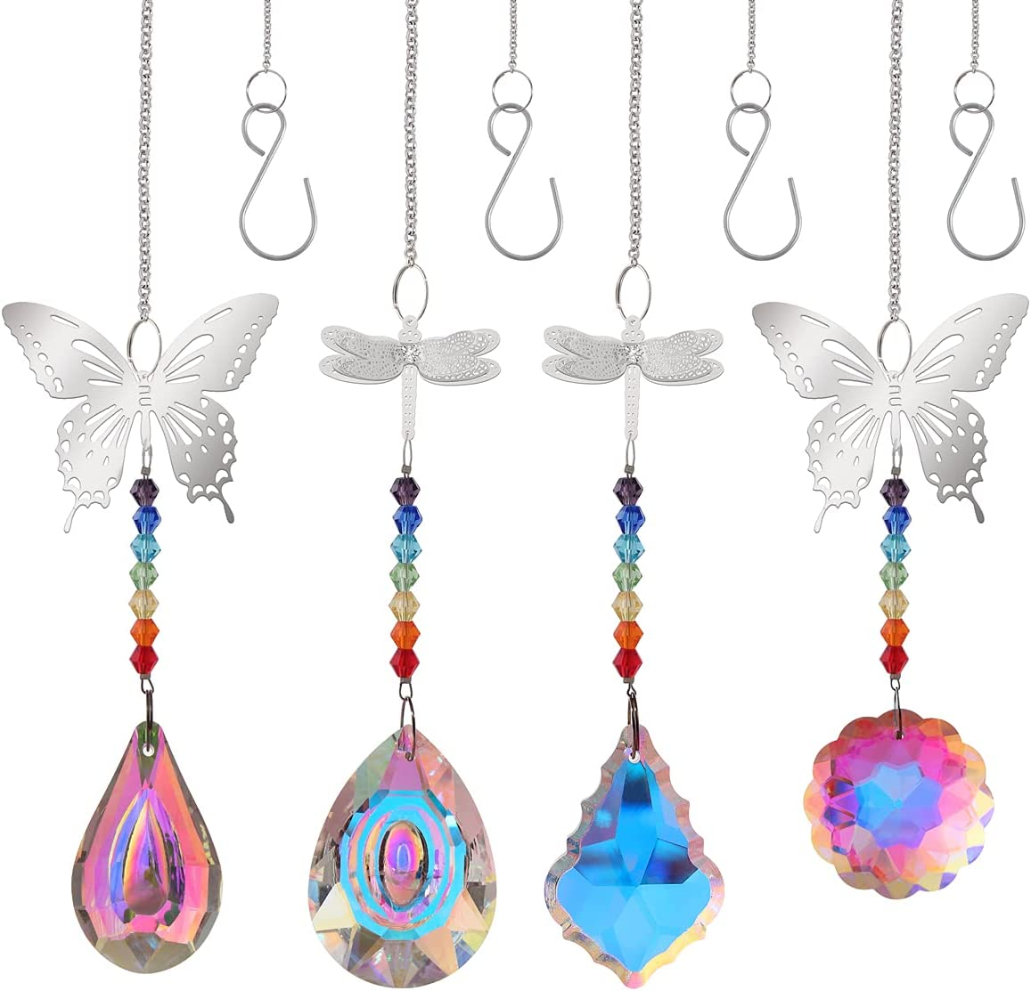 4PCS Crystal Sun Catcher, STINO Hanging Prism Suncatcher Drop Crystals Indoor Window Decorations Wall Glass Décor, Rainbow Maker for Car, Kitchen, Balcony, Room, Family Creates Gift