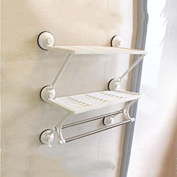 Cqq desorbitarte de toallas Estantería Fuerte del Estante del lechón Barra Doble Doble del almacenaje del almacenaje de la Barra de baño Toalla de baño: ...