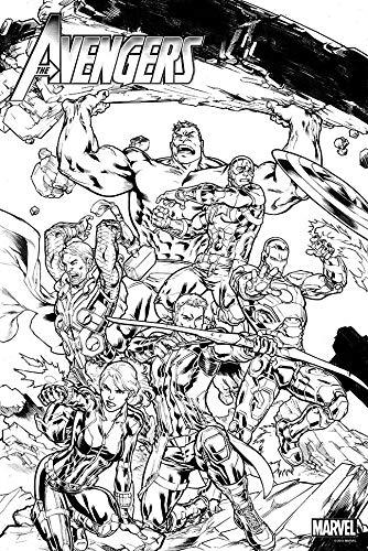 Marvel Avengers B&W Coloring Poster (24' x 36') Rolled/New!