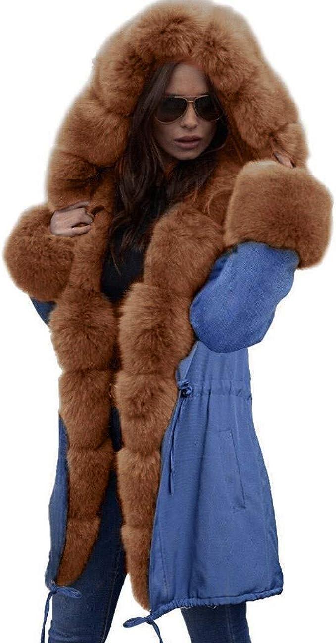 Damen Frauen Hoodie Jacke Mantel Kapuze Coat Kunstfell Cardigan Outwear Top S-XL