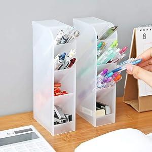 WEUIE Multifunctional Desktop Storage Organizer Pencil Card Holder Box Container for Desk, Office Supplies, Vanity Table