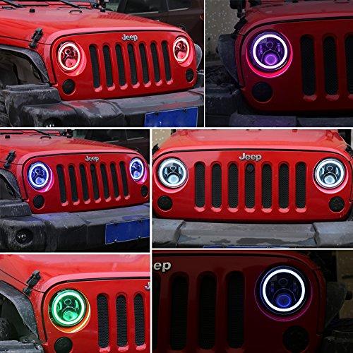 Ovotor Black Jeep Wrangler Led Headlight White Rgb Drl