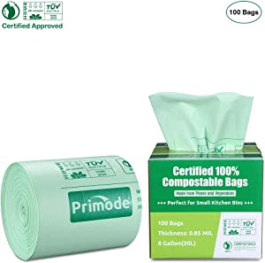 Primode 100% Compostable Bags, 8 Gallon (30L) Food Scraps Yard Waste Bags, 100 Count, Extra Thick 0.85 Mil. ASTMD6400 Biodegradable Compost Bags Small Kitchen Trash Bags, Certified by BPI & TUV EU