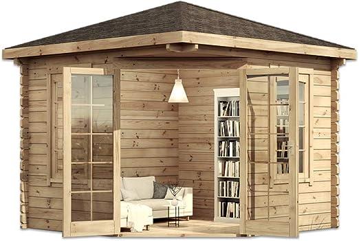 Alpholz - Casa de jardín de 5 esquinas, de madera maciza, con 44 mm de grosor de pared, incluye material de montaje, dimensiones: 300 x 300 cm, tejado puntiagudo: Amazon.es: Jardín