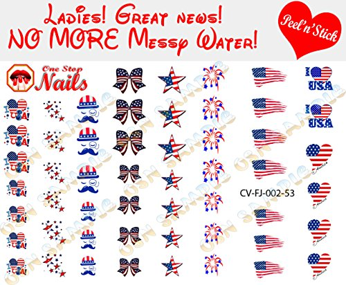 4th of July I love AmericaClear Vinyl Peel and Stick Nail Decals (NOT Waterslide) by One Stop Nails V2A.