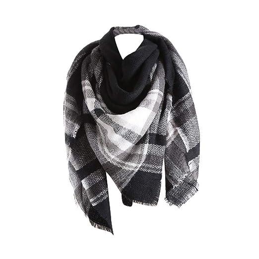 Amazon.com  Allywit Women s Plaid Blanket Scarf Warm Cozy Tartan ... 5cf03b58be0b