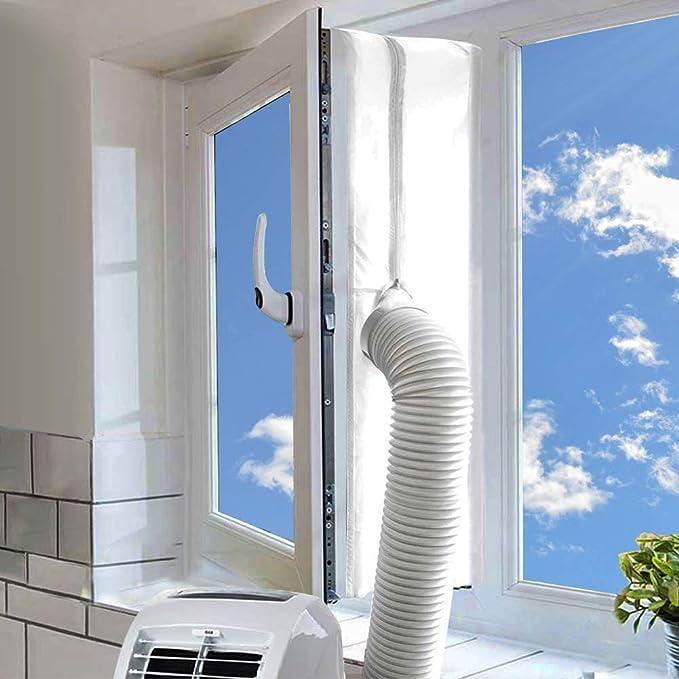 Kit de ventana de CA, universal portátil para unidad de aire acondicionado y secadora de 400 cm, protectores de intercambio de aire caliente con cremallera y cierre adhesivo: Amazon.es: Bricolaje y herramientas
