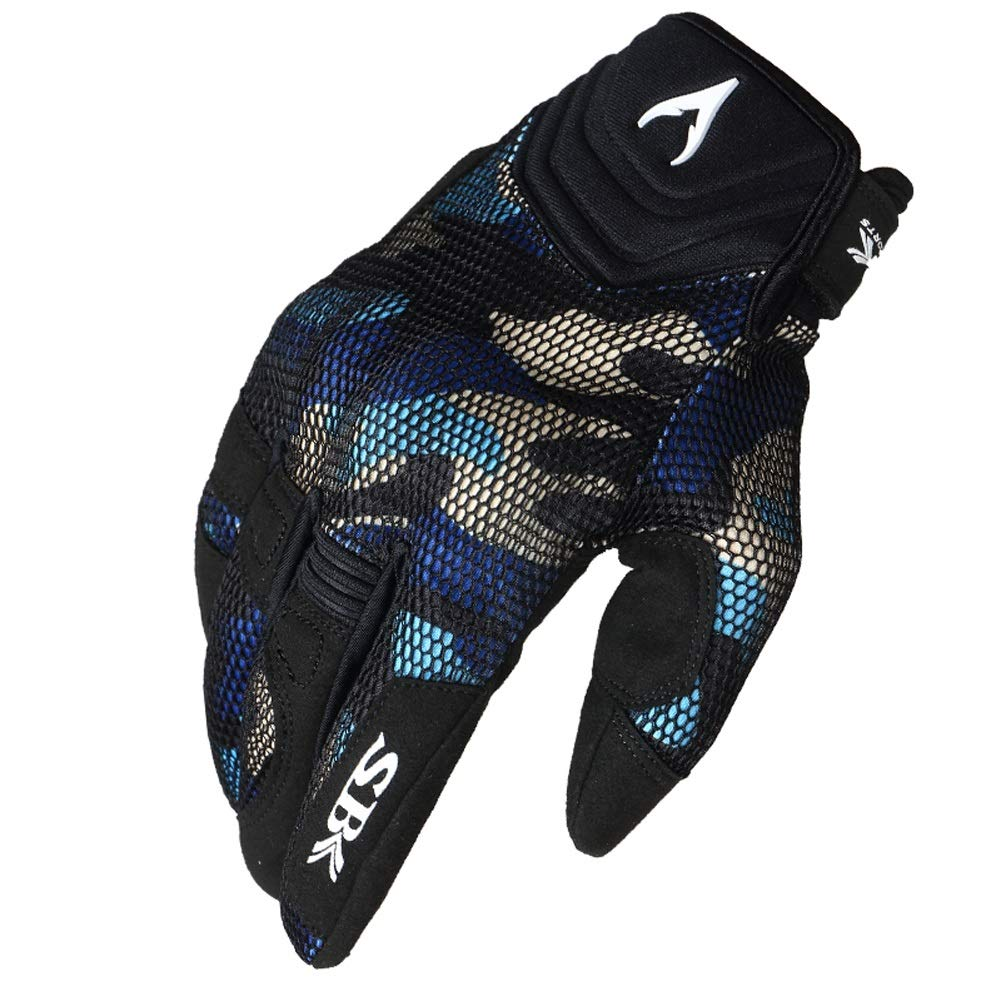 AINIYF Full Finger Motorcycle Gloves| Summer Men's Cavalier Breathable Drops Sports Gloves Cycling Locomotive Touch Screen Racing Fall (Color : Blue, Size : S)