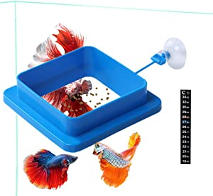 Fish Feeding Ring, Floating Food Feeder Thicken Square, Reduces Waste and Maintains Water Quality, for Flakes and Floating Fish Foods, for Guppy, Betta, Goldfish Etc