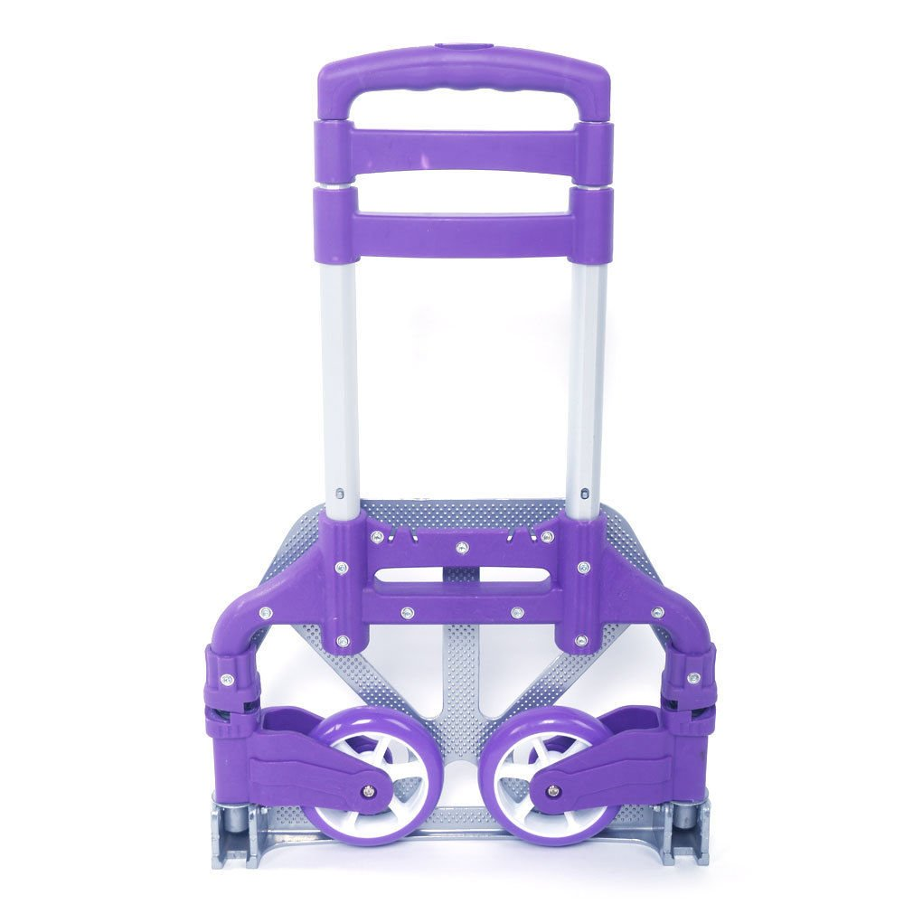 Luggage Cart Folding Push Truck Hand Aluminium Trolley Bungee Cord - Purple Only by eight24hours
