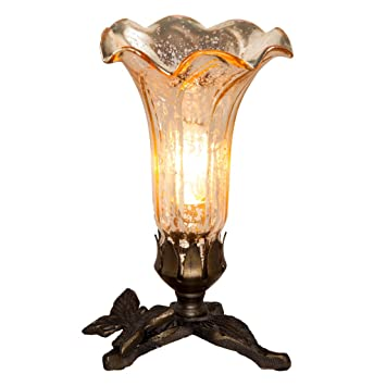 Hand blown mercury glass lamp 8 inch decorative lily flower accent table lamp shade with